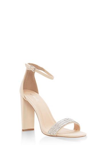 Rhinestone Ankle Strap High Heel Sandals,NUDE,large