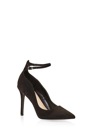 Ankle Strap Pointed Toe Stilettos,BLACK,large