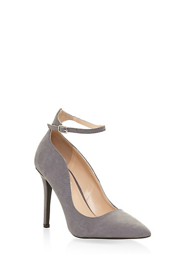 Ankle Strap Pointed Toe Stilettos,GRAY,large