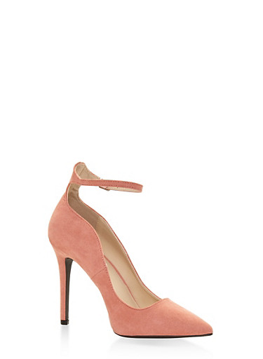 Ankle Strap Pointed Toe Stilettos - ROSE - 1111029917469