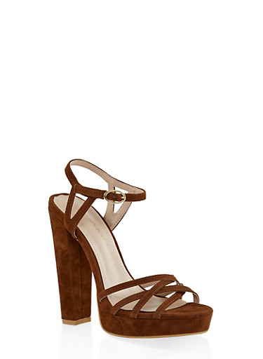 Criss Cross High Heel Sandals,BROWN,large