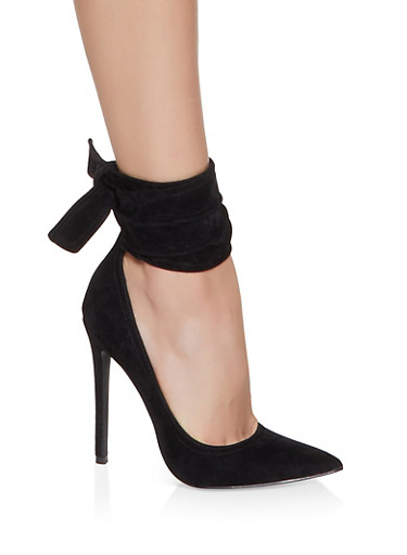 Ankle Wrap High Heel Pumps,BLACK SUEDE,large