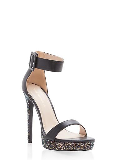 Buckled Ankle Strap High Heel Sandals,BLACK,large