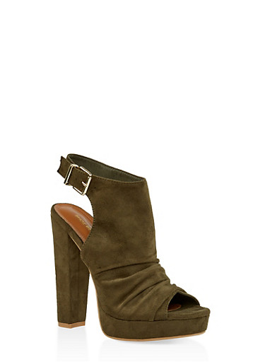Chunky High Heel Sandals,OLIVE,large