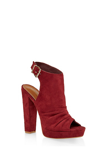 Chunky High Heel Sandals,WINE,large