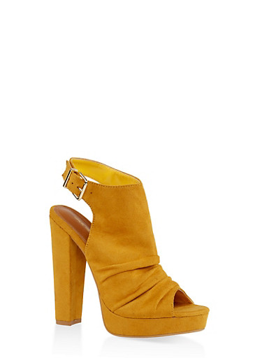Chunky High Heel Sandals,MUSTARD,large