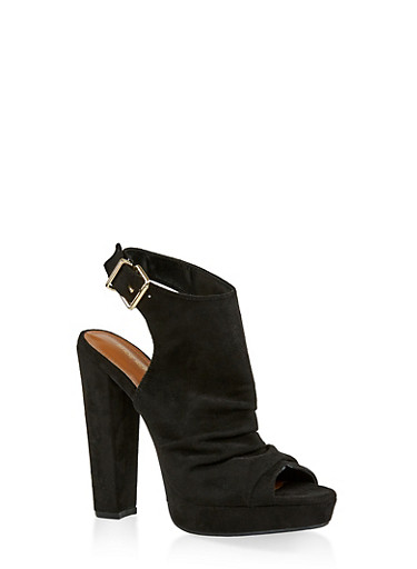 Chunky High Heel Sandals,BLACK SUEDE,large