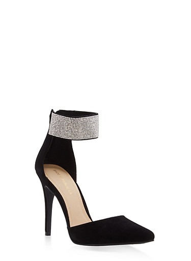 Rhinestone Ankle Strap Pointed Toe Pumps,BLACK,large