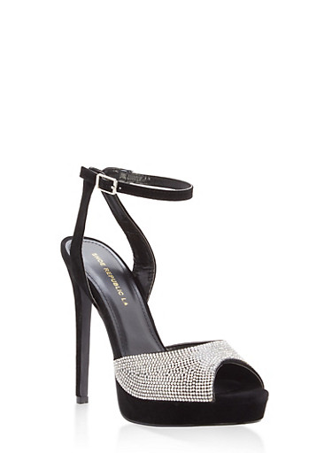 Rhinestone Peep Toe High Heel Sandals,BLACK,large