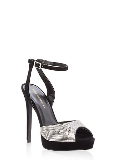 Rhinestone Peep Toe High Heel Sandals,BLACK,large