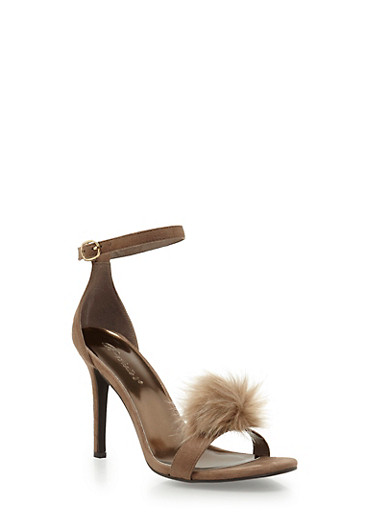 High Heel Stilettos with Pom Pom Detail,TAUPE,large