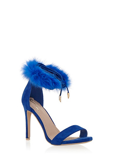 High Heel Sandals with Fur Ankle Strap,BRIGHT BLUE,large