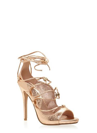 Lace Up Peep Toe Stiletto Heels,ROSE GOLD,large