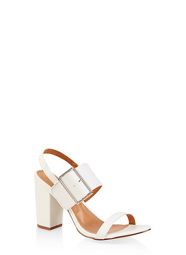 Buckle Slingback Sandals,WHITE,large