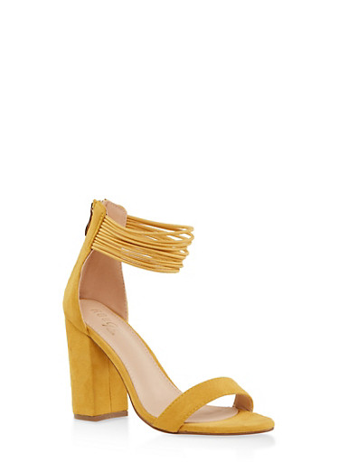 Elastic Ankle Strap Block Heel Sandals,MUSTARD,large