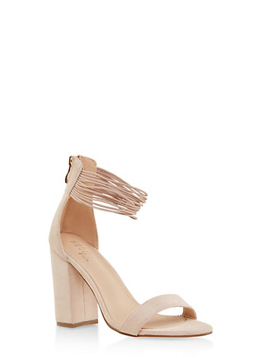 Elastic Ankle Strap Block Heel Sandals,NUDE,large