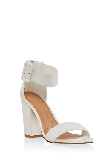 Block Heel Ankle Strap Sandals,WHITE,large
