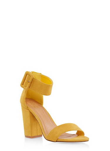 Block Heel Ankle Strap Sandals,MUSTARD,large