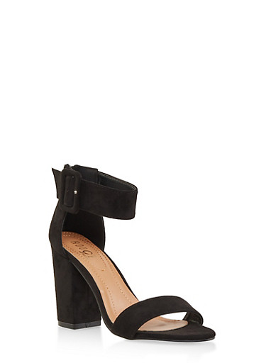 Block Heel Ankle Strap Sandals,BLACK SUEDE,large