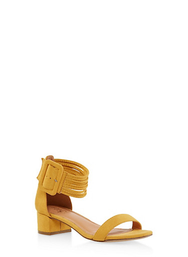 Strappy Block Heel Sandals,MUSTARD,large