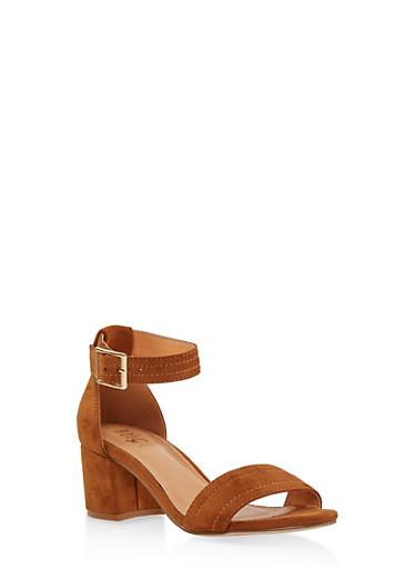 Ankle Strap Block Heel Sandals,TAN,large