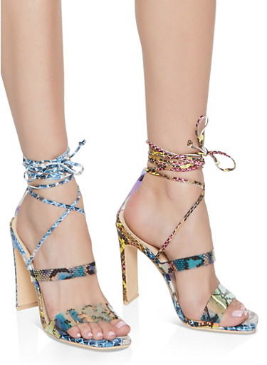 Snake Print Lace Up Heels,MULTI COLOR,large