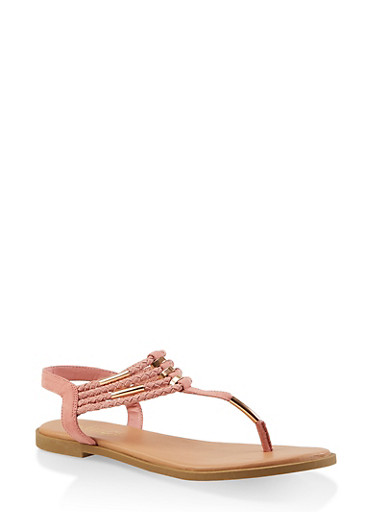 Braided Strap Thong Sandals,MAUVE,large