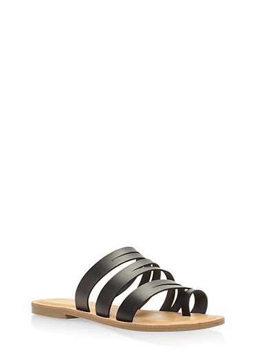 Strappy Toe Ring Slide Sandals,BLACK,large
