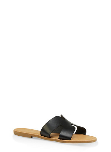 Geometric Band Slide Sandals,BLACK,large