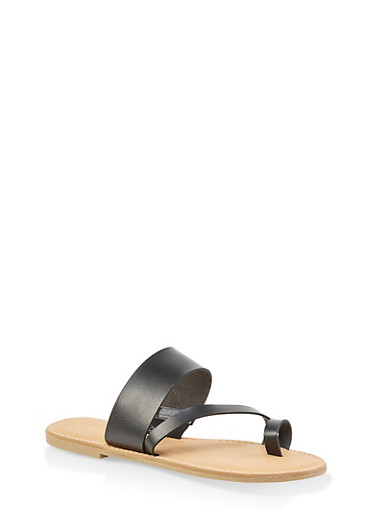 Cross Band Toe Ring Slide Sandals,BLACK,large