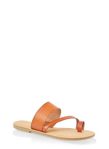 Cross Band Toe Ring Slide Sandals,TAN,large