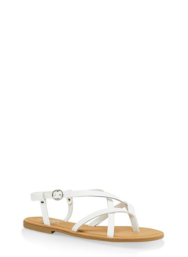 Strappy Faux Leather Thong Sandals,WHITE,large
