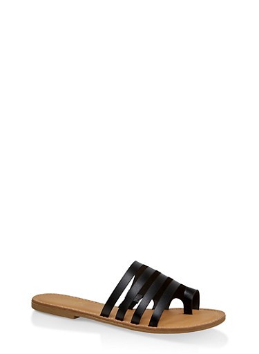 Multi Band Toe Ring Slide Sandals,BLACK,large
