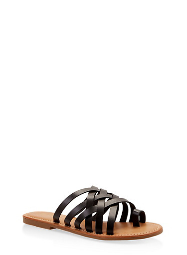 Toe Ring Multi Strap Slide Sandals,BLACK,large