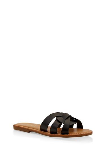 Multi Strap Faux Leather Slide Sandals,BLACK,large