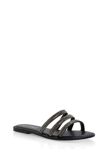 Triple Rhinestone Strap Slide Sandals,BLACK,large