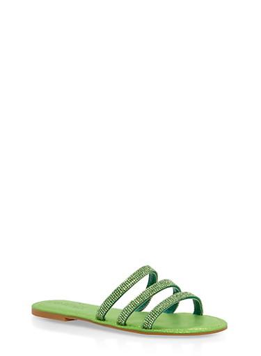 Triple Rhinestone Strap Slide Sandals   Tuggl