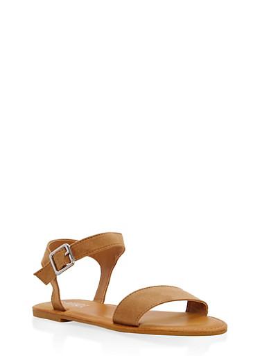 Ankle Strap Flat Sandals,NATURAL,large