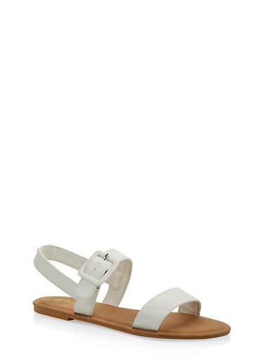 Two Band Slingback Sandals,WHITE,large