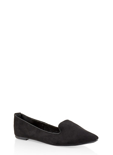 Pointed Toe Skimmer Flats,BLACK SUEDE,large