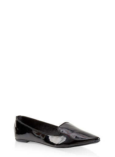 Pointed Toe Skimmer Flats,BLACK PATENT,large