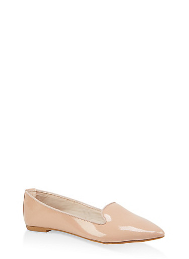 Pointed Toe Skimmer Flats,NUDE,large