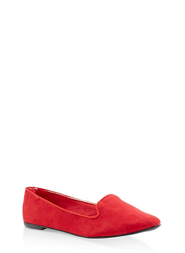 Pointed Toe Skimmer Flats,RED S,large