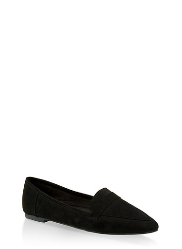 Pointed Toe Loafers,BLACK SUEDE,large