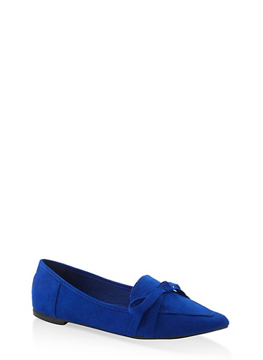Pointed Toe Bow Flats | 1112004062573,RYL BLUE,large