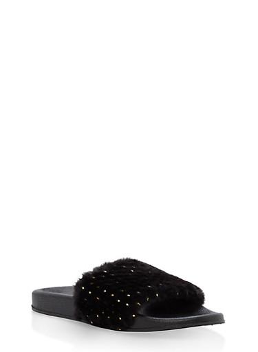 Foiled Faux Fur Slides,BLACK,large