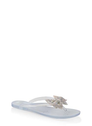 Rhinestone Bow Jelly Flip Flops,WHITE,large