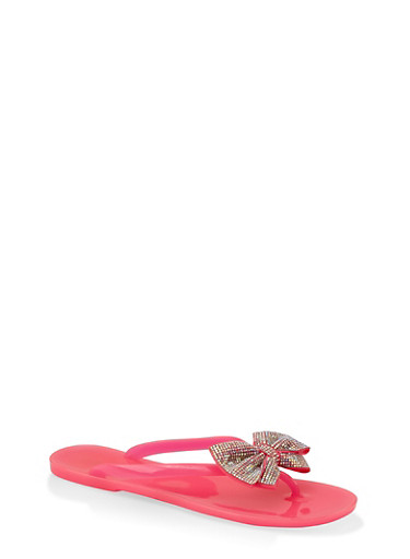 Rhinestone Bow Jelly Flip Flops,NEON PINK,large