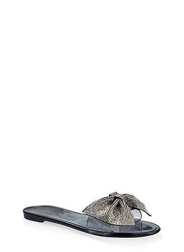 Jelly Rhinestone Bow Slide Sandals,BLACK,large
