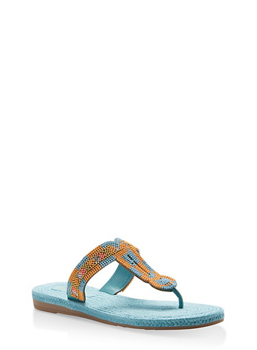 Beaded Thong Sandals,TURQUOISE,large